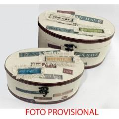 JUEGO DE 2 CAJA OVAL PASSWORD CREMA